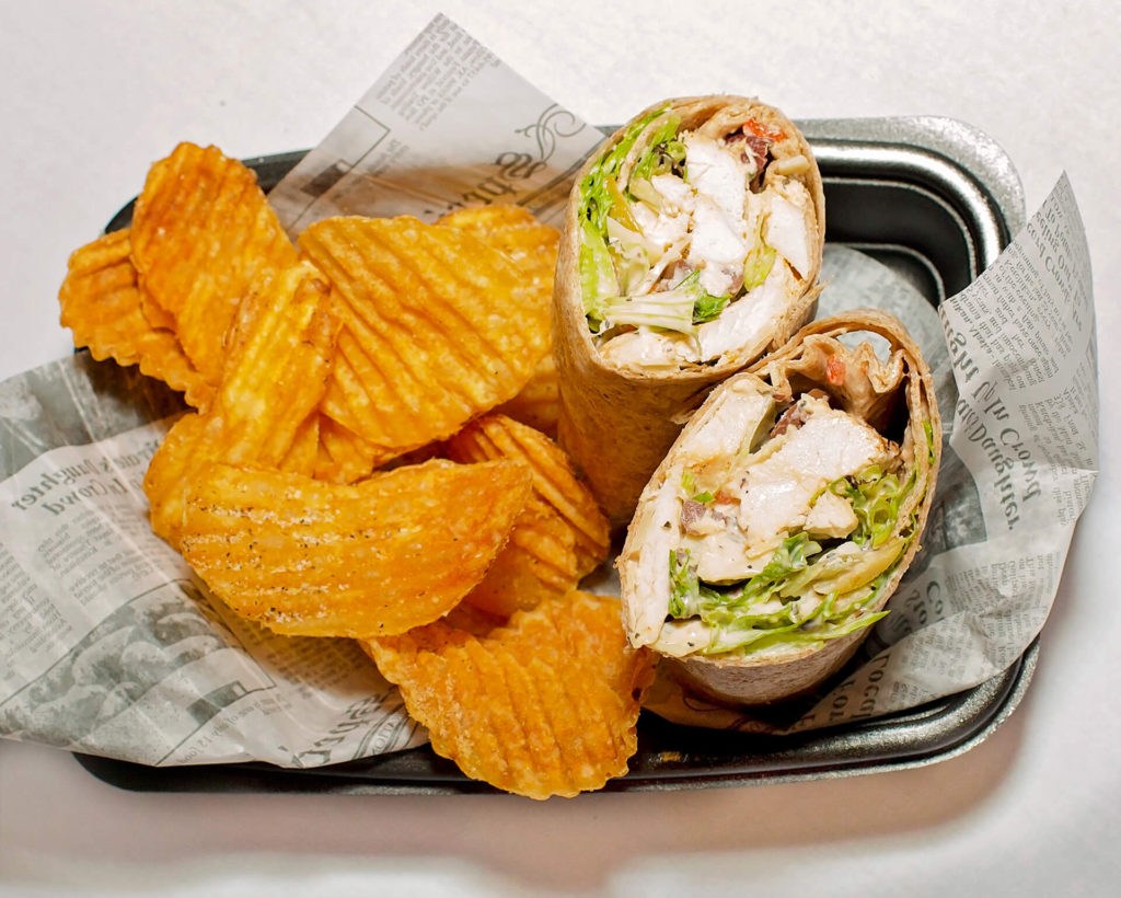 The Hilltop Restaurant and Bar Chicken Wrap with Homemade Chips